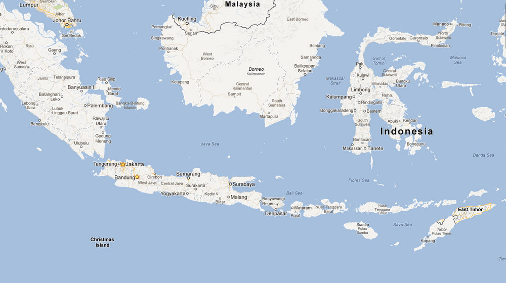 Map of Indonesia for scale