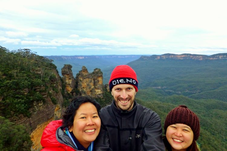 Selfie bersama Trinity di Three Sisters, Blue Mountains