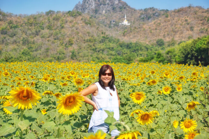 Pose-pose ala model di sunflower field