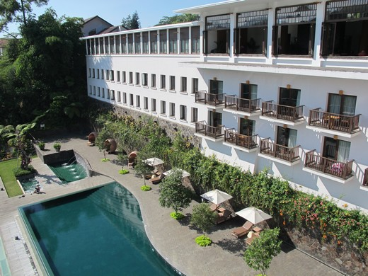 Padma Hotel - swimming pool & the rows of room balcony