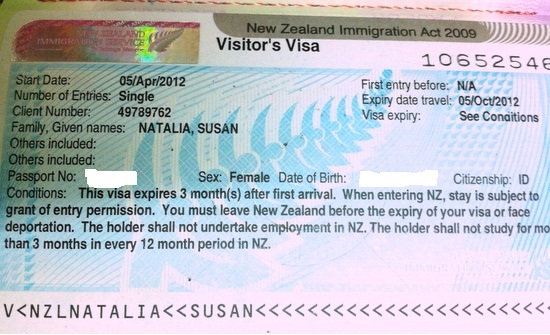Visa Turis New Zealand