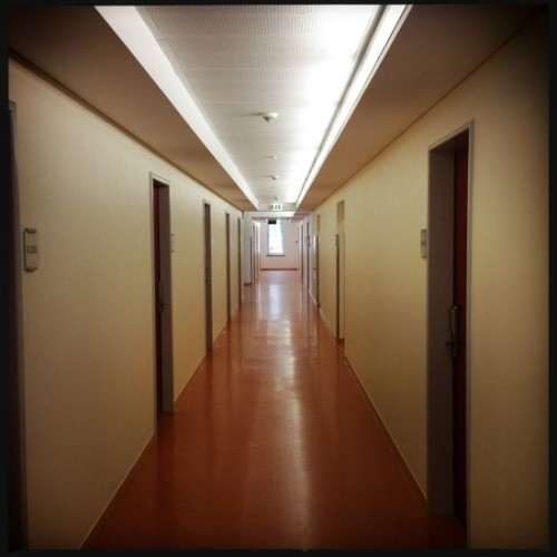 The long hostel corridor