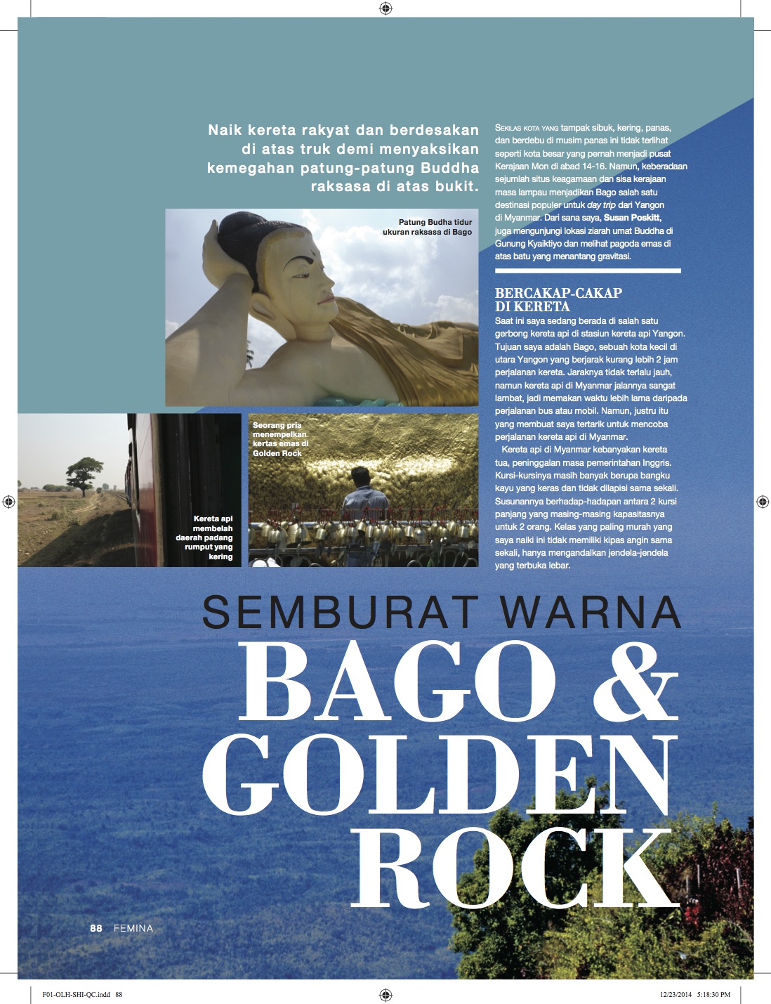 Bago & Golden Rock - Majalah Femina - Januari 2015